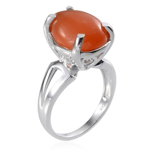 Mitiyagoda Peach Moonstone (Pear) Solitaire Ring in Platinum Overlay Sterling Silver 8.000 Ct.