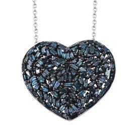 GP Blue Diamond (Bgt), Kanchanaburi Blue Sapphire Heart Pendant with Chain in Platinum Overlay Sterling Silver 1.020 Ct.