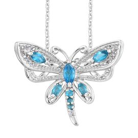 AA Malgache Neon Apatite (Mrq), Natural Cambodian Zircon Dragonfly Pendant with Chain in Platinum Overlay Sterling Silver 1.000 Ct.