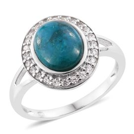 Natural Rare Opalina (Ovl 2.75 Ct), Natural Cambodian Zircon Ring in Platinum Overlay Sterling Silver 3.205 Ct.