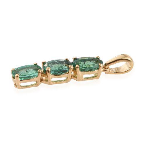 Kagem Zambian Emerald (Ovl) Trilogy Pendant in 14K Gold Overlay Sterling Silver 0.750 Ct.