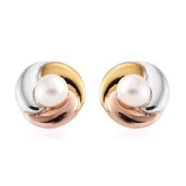 Fresh Water Pearl (Round) Studs Earrings (with Push Back) in Yellow Gold, Rose Gold and Platinum Overlay Sterling Silver.
