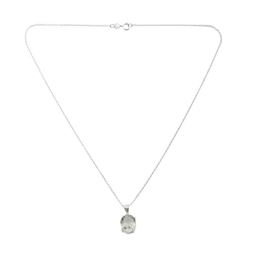Tucson Collection- Green Amethyst (Ovl 12x10mm) Solitaire Pendant with Chain in Sterling Silver 5.000 Ct.