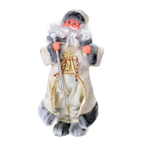 CHRISTMAS SPECIAL DEAL - White and Grey Singing Santa with Silver Magic Wand (Size 47 Cm)
