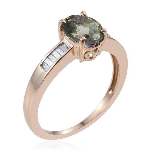 9K Y Gold Rare Natural Green Tanzanite (Ovl 1.75 Ct), Diamond Ring 2.000 Ct.