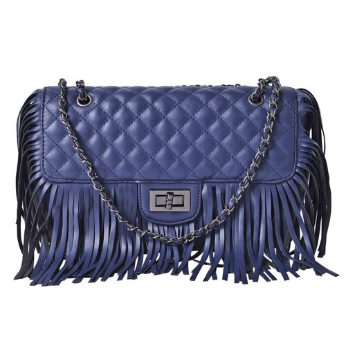 Navy Colour Diamond Pattern Shoulder Bag with Tassels (Size 25x16x7 Cm)