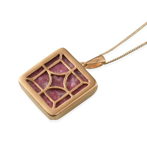 Norwegian Thulite (Sqr) Pendant With Chain in 14K Gold Overlay Sterling Silver 25.000 Ct.