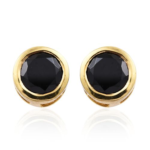 Boi Ploi Black Spinel (Rnd) Stud Earrings (with Push Back) in 14K Gold Overlay Sterling Silver 1.250 Ct.