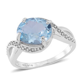 Sky Blue Topaz (Ovl) Solitaire Ring in Rhodium Plated Sterling Silver 4.500 Ct.