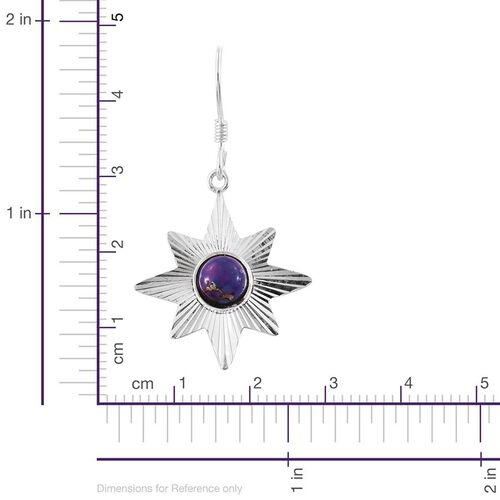 Mojave Purple Turquoise (Rnd) Hook Earrings in Sterling Silver