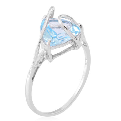 Sky Blue Topaz (Trl) Solitaire Ring in Rhodium Plated Sterling Silver 4.000 Ct.