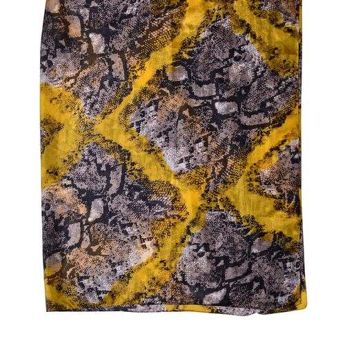 100% Mulberry Silk Yellow, Grey and Black Colour Snake Pattern Scarf (Size 180X110 Cm)