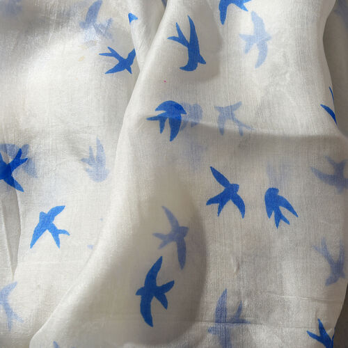 100% Tabby Silk White, Blue, Pink and Multi Colour Handscreen Birds Printed Scarf (Size 180x100 Cm)