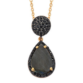 Natural Spectrolite (Pear 2.85 Ct), Boi Ploi Black Spinel Drop Pendant with Chain in 14K Gold Overlay Sterling Silver 3.750 Ct.