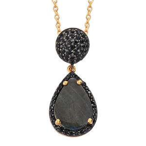Spectrolite (Pear 2.85 Ct), Boi Ploi Black Spinel Drop Pendant with Chain in 14K Gold Overlay Sterling Silver 3.750 Ct.