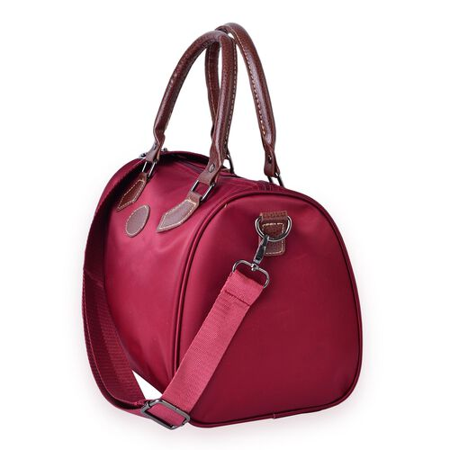 City Classic Water Resistant Burgundy Bowler Bag with Removable and Adjustable Strap (Size 28x21x18 Cm)