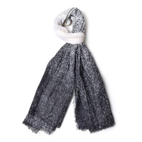 Italian Designer Inspired-Black and White Colour Ombre Pattern Scarf with Fringes (Size 180X90 Cm)