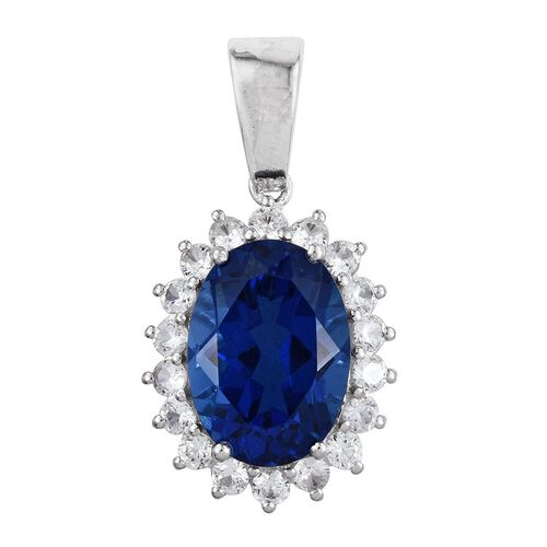 Ceylon Colour Quartz (Ovl 13.00 Ct), Natural Cambodian Zircon Pendant in Platinum Overlay Sterling Silver 16.000 Ct.
