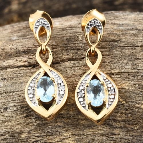Sky Blue Topaz (Ovl), Diamond Earrings (with Push Back) in 14K Gold Overlay Sterling Silver 1.000 Ct.