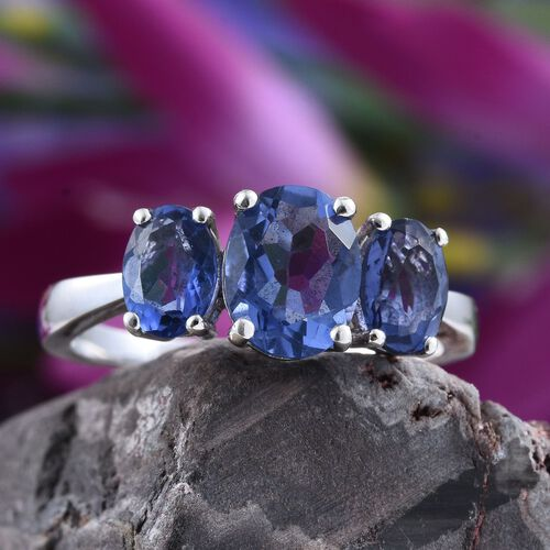 Colour Change Fluorite (Ovl 2.25 Ct) 3 Stone Ring in Platinum Overlay Sterling Silver 4.250 Ct.