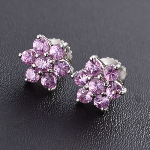RHAPSODY 950 Platinum AAAA Pink Sapphire (Rnd) Floral Stud Earrings (with Screw Back) 1.000 Ct.