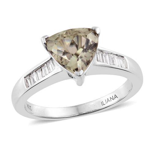 ILIANA 18K W Gold AAA Turkizite (Trl 2.25 Ct.) and Diamond (SI/G-H) Ring 2.500 Ct.