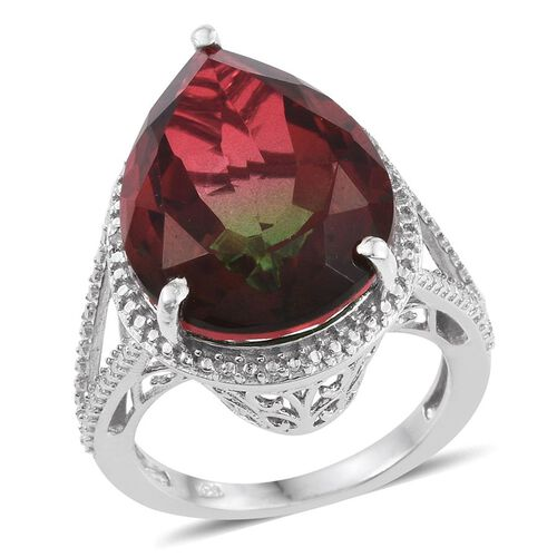 Bi-Color Tourmaline Quartz (Pear), Diamond Ring in Platinum Overlay Sterling Silver 17.010 Ct.