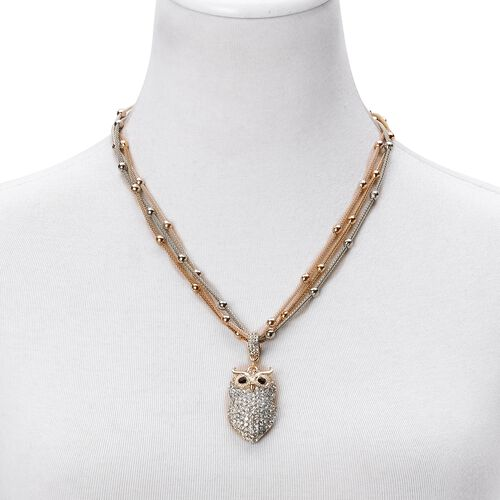 AAA White and Black Austrian Crystal Triple Strand Beads Necklace (Size 21 with 2 inch Extender) with Owl Pendant in Tricolour Tone