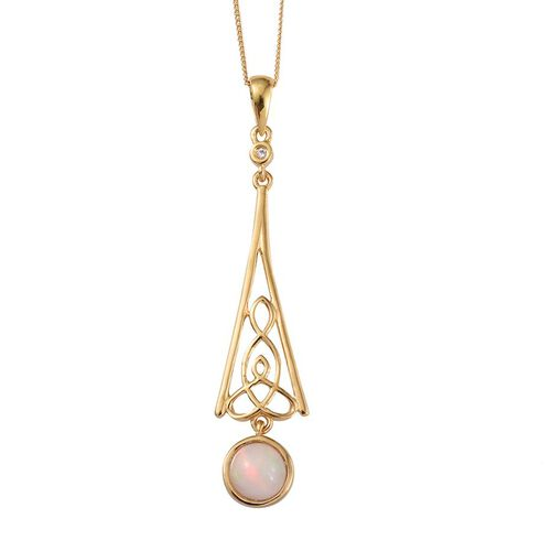 Ethiopian Welo Opal (Rnd 0.95 Ct), Natural Cambodian Zircon Pendant With Chain in 14K Gold Overlay Sterling Silver 1.000 Ct.