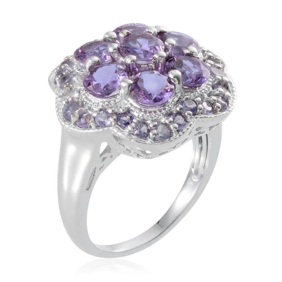 Lavender Tanzanite: Lavender Alexite (Rnd), Tanzanite Ring In Platinum Overlay