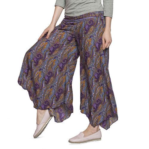 Purple, Grey and Multi Colour Paisley Pattern Palazzo Trouser (Free Size)