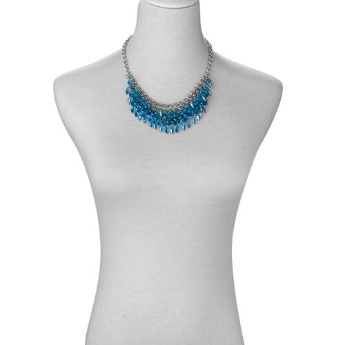 Blue Glass Necklace (Size 18) in Silver Tone