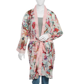 100% Cotton Beige, Pink and Multi Colour Flower, Leaves and Birds Pattern Gown (Size 100x65 Cm)