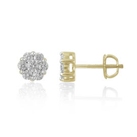 9K Yellow Gold SGL Certified Pressure-set Diamond (Rnd) (I3/G-H) Cluster Stud Earrings 1.000 Ct.
