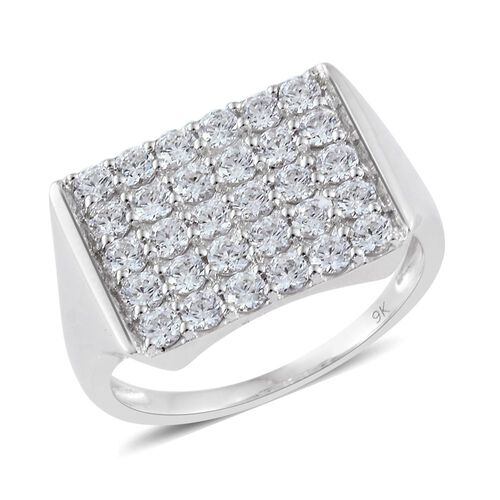 J Francis - 9K White Gold Cluster Ring Made with SWAROVSKI ZIRCONIA