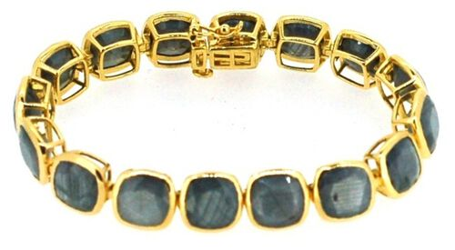 Natural Silver Sapphire (Cush) Bracelet in 14K Gold Overlay Sterling Silver (Size 8) 90.000 Ct.