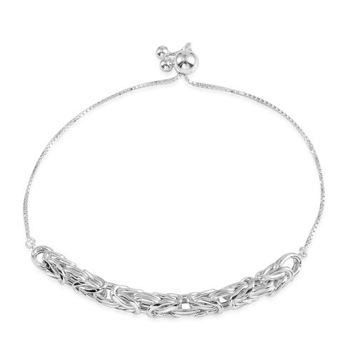 Designer Inspired JCK Vegas Collection Sterling Silver Adjustable Bracelet (Size 6 to 9), Silver Wt 5.40 Gms.