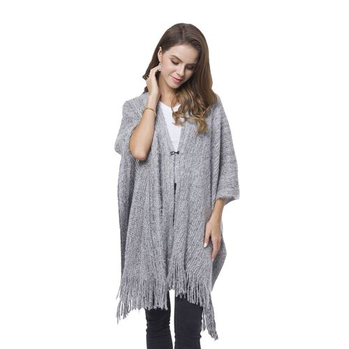 Grey and Black Colour Kimono with Tassels (Free Size)