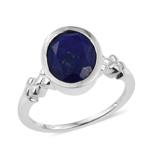 Lapis Lazuli (Ovl) Solitaire Ring in Sterling Silver 3.500 Ct.