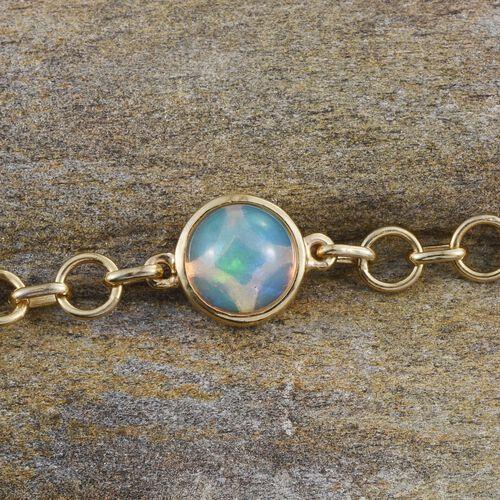 Ethiopian Welo Opal (Rnd) Bracelet (Size 7.5) in 14K Gold Overlay Sterling Silver 1.000 Ct.