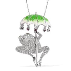 Designer Inspired - Russian Diopside, Rhodolite Garnet and Cambodian Zircon Frog Under Enameled Leaf Umbrella Pendant with Chain (Size 18) in Rhodium and Platinum Overlay Sterling Silver 3.050 Ct.