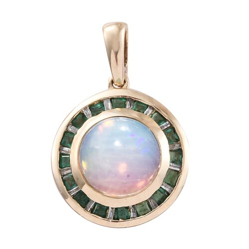 9K Yellow Gold AAA Ethiopian Welo Opal (Rnd 2.60 Ct), AA Kagem Zambian Emerald and Diamond Pendant 3.250 Ct.