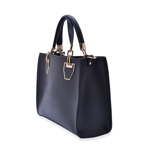 Set of 2 -Bianca Black Colour Large and Small with Adjustable and Removable Shoulder Strap Handbag (Size 31x24x130 Cm)