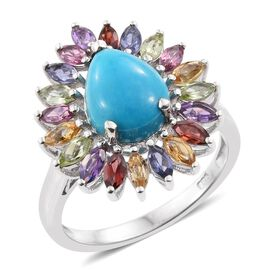 Arizona Sleeping Beauty Turquoise (Pear 1.33 Ct), Mozambique Garnet, Iolite, Amethyst, Citrine, Hebei Peridot, Tanzanite and Rhodolite Garnet Ring in Platinum Overlay Sterling Silver 2.830 Ct.