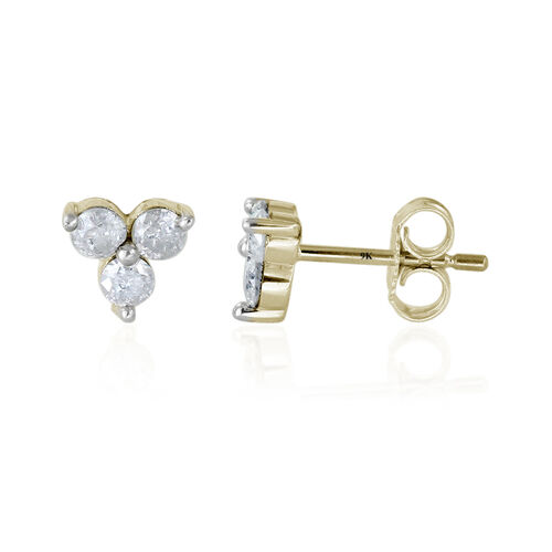 9K Yellow Gold SGL Certified Diamond (Rnd) (I3/ G-H) Stud Earrings (with Push Back) 0.500 Ct.