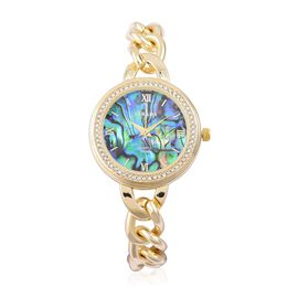 STRADA Japanese Movement Abalone Shell Dial with White Austrian Crystal Watch in Yellow Tone with Curb Chain Strap