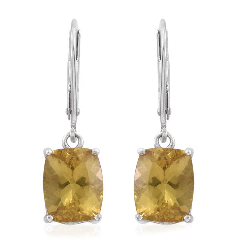 Rare AAA Golden Honey Apatite (Cush) Lever Back Earrings in Platinum Overlay Sterling Silver 6.000 Ct.