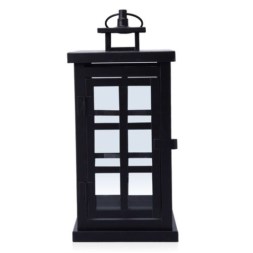Square Grid Design Black Colour Cage Lantern (Size 32x12 Cm)
