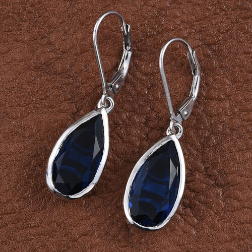 Ceylon Colour Quartz (Pear) Lever Back Earrings in Platinum Overlay Sterling Silver 10.000 Ct.