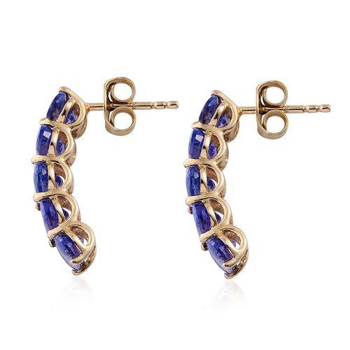 9K Yellow Gold 2.25 Ct AA Tanzanite J Hoop Earrings (with Push Back)